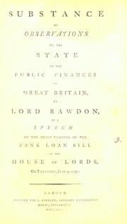 Cover of: Substance of observations on the state of the public finances of Great Britain