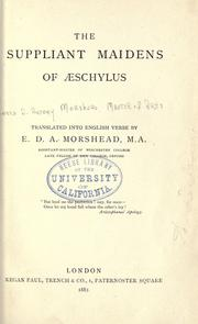 Cover of: The suppliant maidens of Aeschylus | Aeschylus