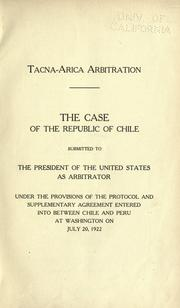 Cover of: Tacna-Arica arbitration