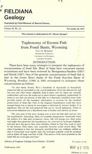 Cover of: Taphonomy of Eocene fish from Fossil Basin, Wyoming