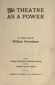 Cover of: The theatre as a power