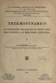 Cover of: Thermodynamics | George Hartley Bryan