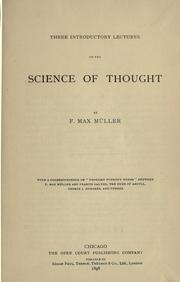 Cover of: Three introductory lectures on the science of thought