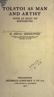 Cover of: Tolstoi as man and artist, with an essay on Dostoïevski