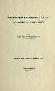 Cover of: Tolstoy's interpretation of money and property