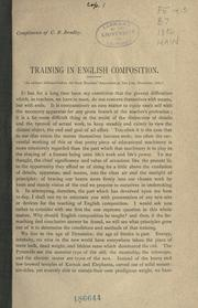 Cover of: Training in English composition