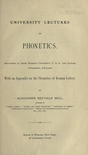 Cover of: University lectures on phonetics
