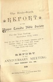 Cover of: Report of the Upper Canada Bible Society and ... of the Society