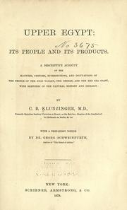 Upper Egypt: its people and its products by Karl Benjamin Klunzinger