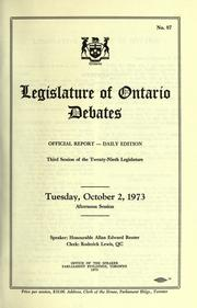 Official report of debates (Hansard) : Legislative Assembly of Ontario =