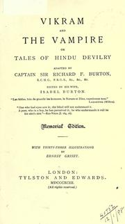 Cover of: Vikram and the vampire, or, Tales of Hindu devilry |