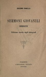 Cover of: Sermoni giovanili inediti