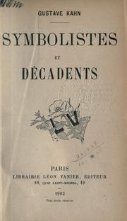 Cover of: Symbolistes et décadents