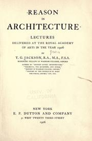 Cover of: Reason in architecture | Jackson, Thomas Graham Sir