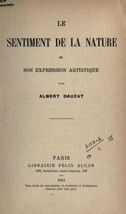 Cover of: Le sentiment de la nature et son expression artistique