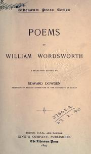 Cover of: Poems. by William Wordsworth