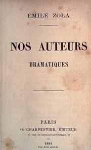 Cover of: Nos auteurs dramatiques