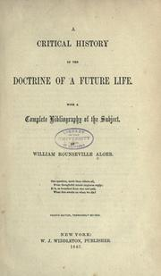 Cover of: Critical history of the doctrine of a future life
