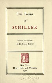 Cover of: The poems of Schiller