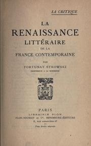 Cover of: La renaissance littéraire de la France contemporaine