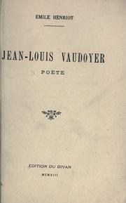 Cover of: Jean-Louis Vaudoyer, poète