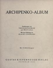 Cover of: Archipenko-Album