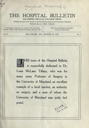 Cover of: Hospital bulletin. | University of Maryland (1812-1920)