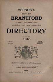 Cover of: City of Brantford directory |
