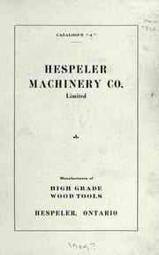 Cover of: Hespeler Machinery Co. Limited | Hespeler Machinery Company.