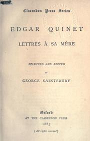 Cover of: Lettres à sa mère: Selected and edited by George Saintsbury.