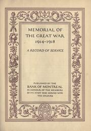 Cover of: Memorial of the Great War, 1914-1918 | Bank of Montreal.