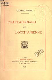 Cover of: Chateaubriand et l'Occitanienne