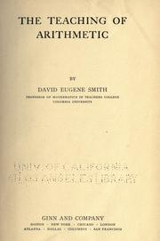 Cover of: The teaching of arithmetic