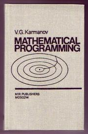 Cover of: Mathematical programming