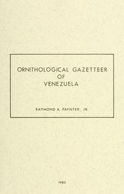 Cover of: Ornithological gazetteer of Venezuela