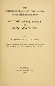 Cover of: On the after-effect of seen movement