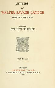 Cover of: Letters of Walter Savage Landor, private and public