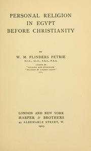 Cover of: Personal religion in Egypt before Christianity