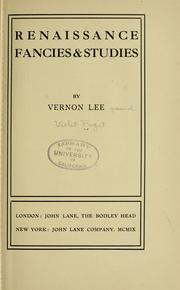 Cover of: Renaissance fancies and studies
