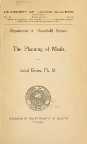 Cover of: The planning of meals