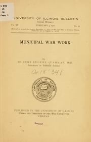 Cover of: Municipal war work