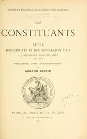 Cover of: Les Constituants