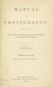 Cover of: A manual of photography