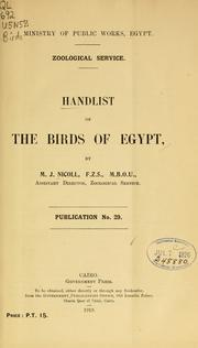 Cover of: Handlist of the birds of Egypt