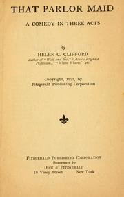 Cover of: That parlor maid | Helen C. Clifford