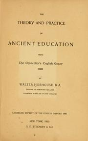 Cover of: The theory and practice of ancient education