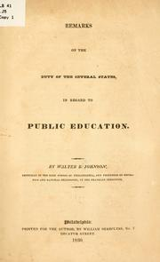 Cover of: Remarks on the duty of the several states