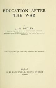 Cover of: Education after the war