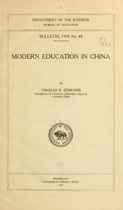 Cover of: Modern education in China | Charles K. Edmunds