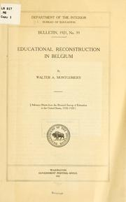 Cover of: Educational reconstruction in Belgium